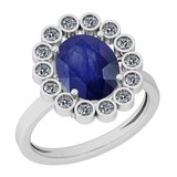 2.42 Ctw Blue Sapphire And Diamond I2/I3 14K White Gold Vintage Style Ring