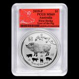 2019 Australia 1 oz Silver Lunar Pig MS-69 PCGS (FS, Red Label)