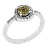 0.85 Ct Natural YellowDiamond I2/I3And White Diamond I2/I3 18k White Gold Engagement Halo Ring