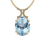 27.85 Ctw I2/I3 Blue Topaz And Diamond 14K Yellow Gold Necklace