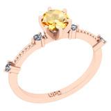 0.64 Ctw I2/I3 Citrine And Diamond 10K Rose Gold Promises Ring
