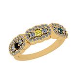 0.73 Ctw I2/I3 Treated Fancy Multi Diamond 10K Yellow Gold Vintage Style Bridal Wedding Band Ring