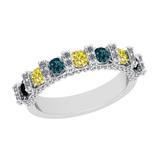 1.16 Ctw I2/I3 Treated Fancy Multi Diamond 10K White Gold Vintage Style Bridal Wedding Band Ring