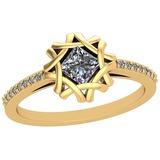 0.48 Ctw SI2/I1 Diamond Platinum 14K Yellow Gold Plated Ring