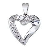 14K White Gold Diamond Heart Pendant 0.07 CTW