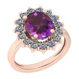 3.28 Ctw I2/I3 Amethyst And Diamond 10K Rose Gold Vintage Style Ring