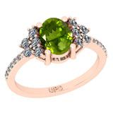 1.71 Ctw I2/I3 Peridot And Diamond 10K Rose Gold Promises Ring