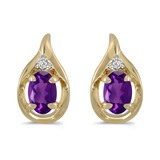 14k Yellow Gold Oval Amethyst And Diamond Earrings 0.7 CTW