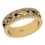 0.45 Ctw I2/I3 Treated Fancy Multi Diamond 14K Yellow Gold Vintage Style Ring