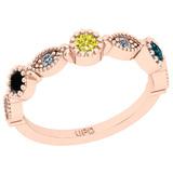 0.40 Ctw I2/I3 Treated Fancy Multi Diamond 14K Rose Gold Eternity Band Ring