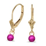 14k Yellow Gold 5mm Round Genuine Pink Topaz Lever-back Earrings 0.06 CTW