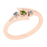 0.10 Ctw I2/I3 Peridot And Diamond 10K Rose Gold three Stone Ring