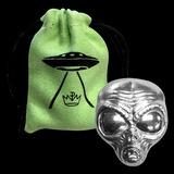 2 oz Silver Alien Head 3D Bar with Storage Bag