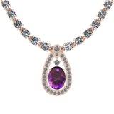 22.22 Ctw Amethyst And Diamond I2/I3 14K Rose Gold Pendant Necklace
