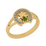 0.22 Ctw I2/I3 Peridot And Diamond 10K Yellow Gold Vintage Style Ring