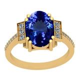 4.00 Ctw VS/SI1 Tanzanite And Diamond 14K Yellow Gold Victorian Style Ring