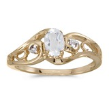 14k Yellow Gold Oval White Topaz And Diamond Ring 0.49 CTW