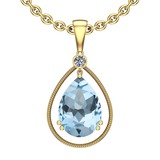 Certified 74.32 Ctw I2/I3 Blue Topaz And Diamond 14K Yellow Gold Pendant