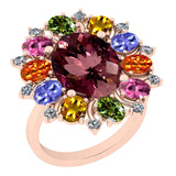 9.09 Ctw SI2/I1 Multi Sapphire,Pink Tourmaline And Diamond 14K Rose Gold victorian Style Engagement