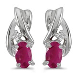 14k White Gold Oval Ruby And Diamond Earrings 0.38 CTW
