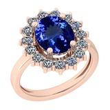 5.78 Ctw VS/SI1 Tanzanite And Diamond Platinum 14K Rose Gold Plated Ring