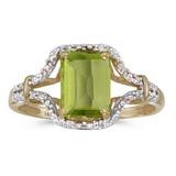 10k Yellow Gold Emerald-cut Peridot And Diamond Ring