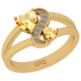 0.79 Ctw I2/I3 Citrine And Diamond 10K Yellow Gold Cocktail Ring