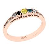 0.28 Ctw I2/I3 Treated Fancy Multi Diamond 14K Rose Gold Vintage Style Ring