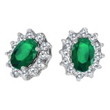 14k White Gold Oval Emerald and .25 total CTW Diamond Earrings 0.87 CTW