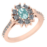 1.46 Ctw I2/I3 Aquamrine And Diamond 14K Rose Gold Vingate Style Halo Ring
