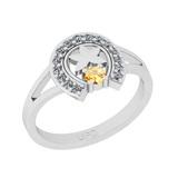 0.22 Ctw I2/I3 Citrine And Diamond 10K White Gold Vintage Style Ring