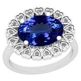 4.62 Ctw VS/SI1 Tanzanite And Diamond Platinum Vintage Style Ring