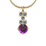 4.00 Ctw Amethyst And Diamond I2/I3 14K Yellow Gold Necklace
