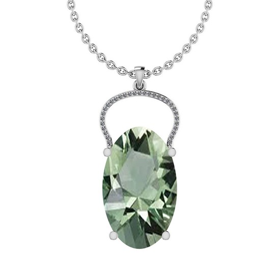 Certified 14.38 Ctw Green Amethyst And Diamond I1/I2 10K White Gold Pendant