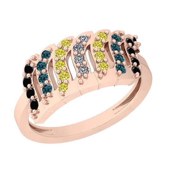 0.40 Ctw I1/I2 Treated Fancy Black ,Yellow,Blue,White Diamond 14K Rose Gold Ring