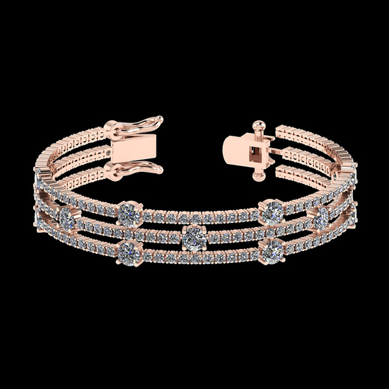 6.52 Ctw SI2/I1 Diamond Style 14K Rose Gold Bracelet