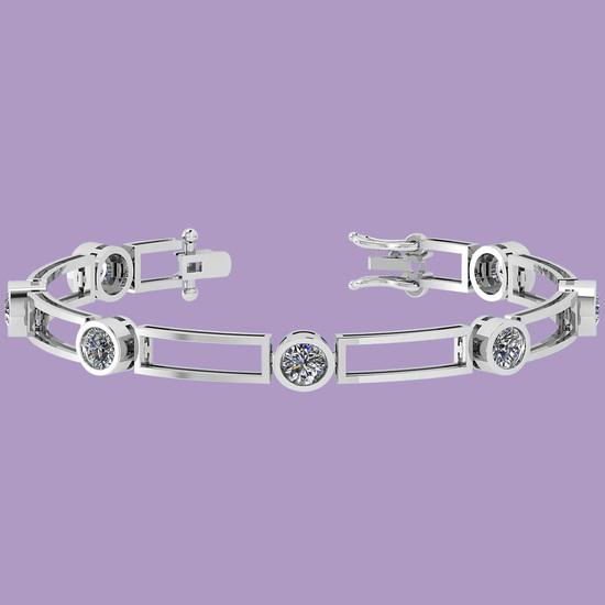 3.50 Ctw Diamond I1/I2 Bezel Set 14K White Gold Bracelet