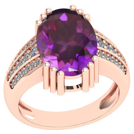 7.84 Ctw VS/SI1 Amethyst And Diamond 14k Rose Gold Victorian Style Ring