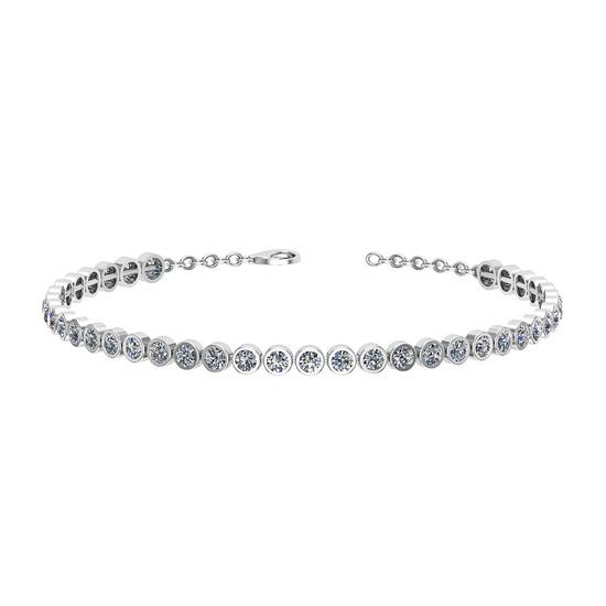 1.09 Ctw I2/I3 Diamond Bezel Set 10k White Gold Bracelet