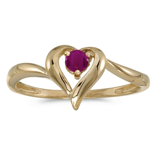 14k Yellow Gold Round Ruby Heart Ring 0.24 CTW