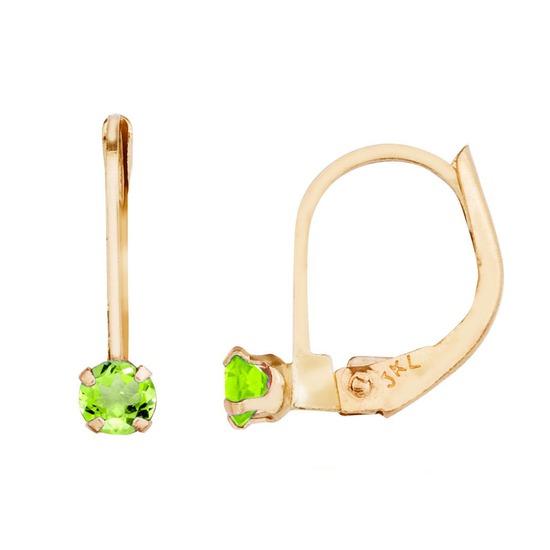 14k Petite Peridot Leverback Earrings