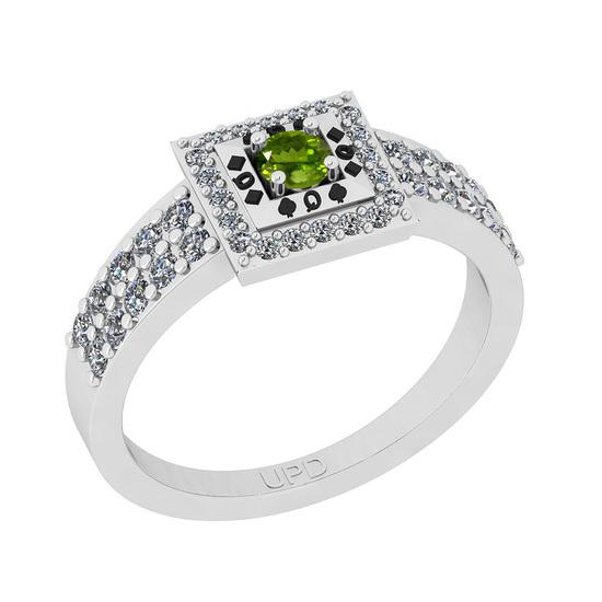 0.50 Ctw I2/I3 Peridot And Diamond 10K White Gold Poker Style Ring