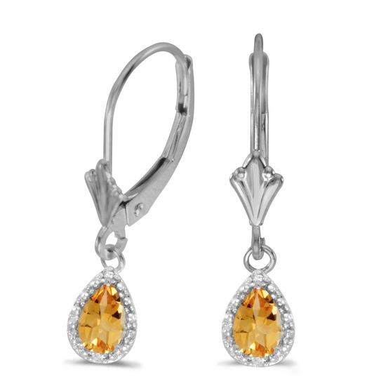 14k White Gold Pear Citrine And Diamond Leverback Earrings