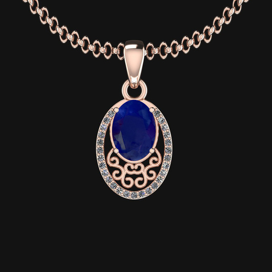 0.81 Ctw VS/SI1 Blue Sapphire And Diamond 14K Rose Gold Necklace