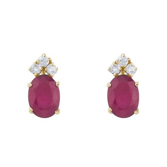 14k Yellow Gold Ruby And Diamond Oval Earrings 1.32 CTW