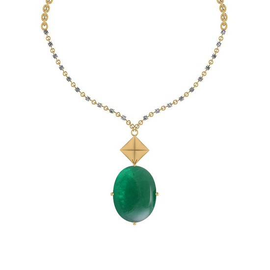 68.05 Ctw VS/SI1 Emerald And Diamond 14k Yellow Gold Victorian Style Necklace
