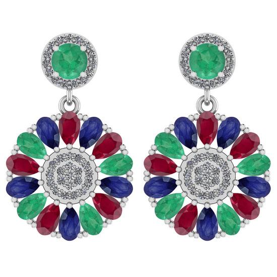 6.04 Ctw I2/I3 Emerald,Ruby,Blue Sapphire And Diamond 14K White Gold Earrings