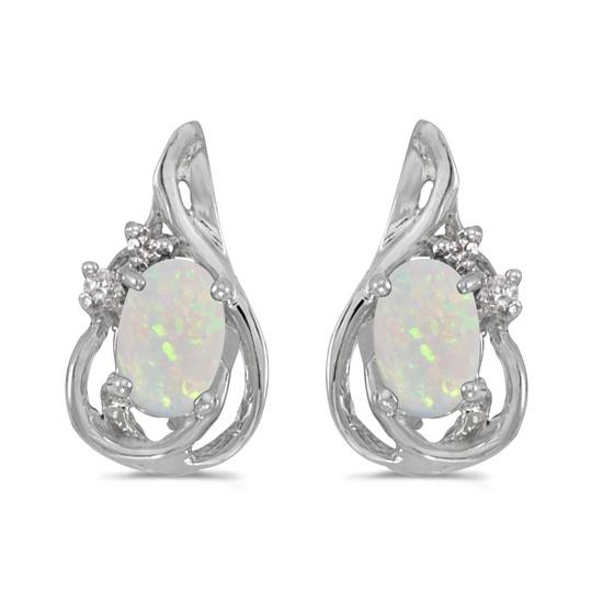 14k White Gold Oval Opal And Diamond Teardrop Earrings 0.42 CTW