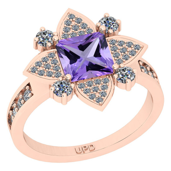 1.93 Ctw I2/I3 Amethyst And Diamond 10K Rose Gold Engagement Ring