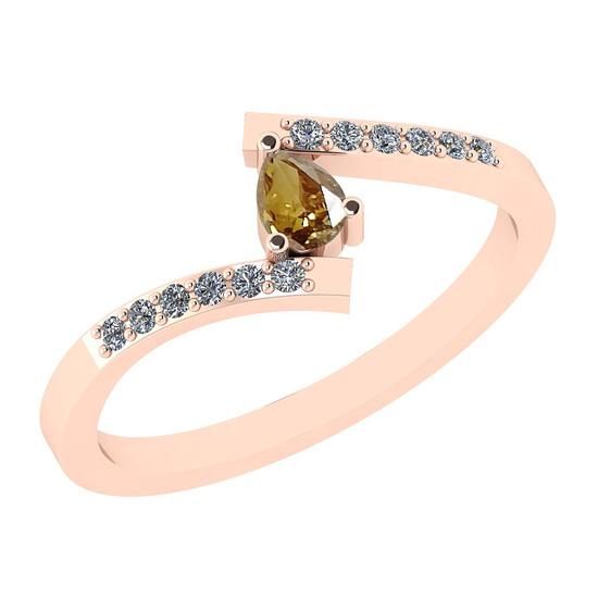 0.29 Ct Natural Yellow Diamond I2/I3And White Diamond I2/I3 14k Rose Gold Vintage Style Ring